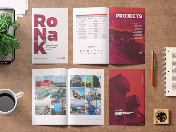 طراحی و اجرای کاتالوگ پروژه های شرکت مهندسی روناک