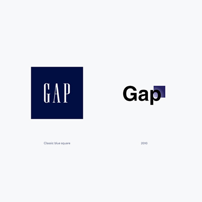 نمونه معروف لوگوی مربع برند گپ - انتخاب شکل لوگو : معنی شکل مربع در طراحی لوگو